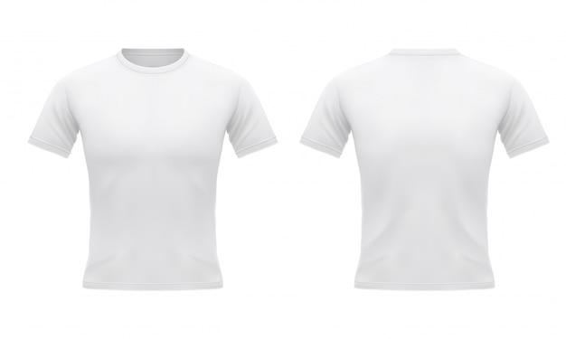 Camiseta branca masculina com manga curta na frente e nas costas. roupas esportivas