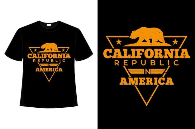 Camiseta california republic america bear estilo vintage