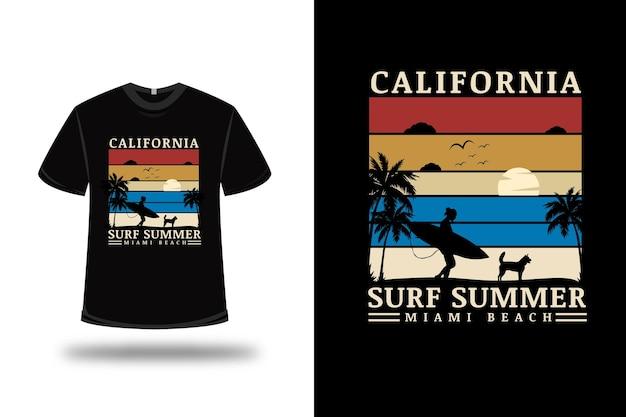 Camiseta califórnia surf verão miami beach cor vermelha creme e azul