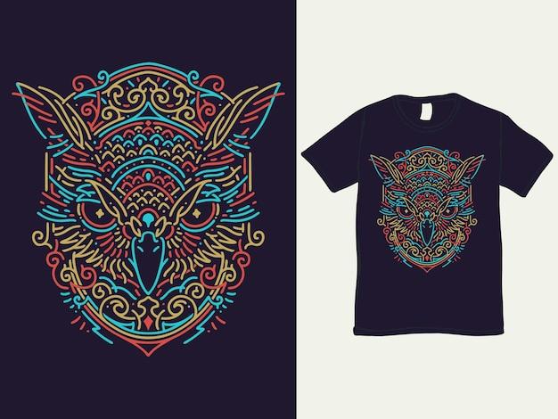 Camiseta colorida monoline coruja e ilustração