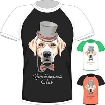 Camiseta com cão labrador retriever cavalheiro