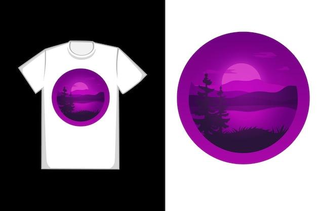 Camiseta com design lindo lago roxo