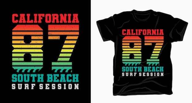 Camiseta com design tipográfico vintage da califórnia oitenta e sete south beach