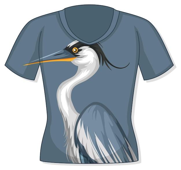 Camiseta com estampa de pássaro garça