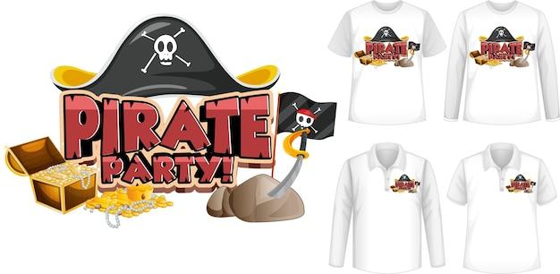 Camiseta com ícone de festa pirata