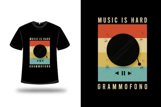 Camiseta com música é um gramofone pesado com design colorido