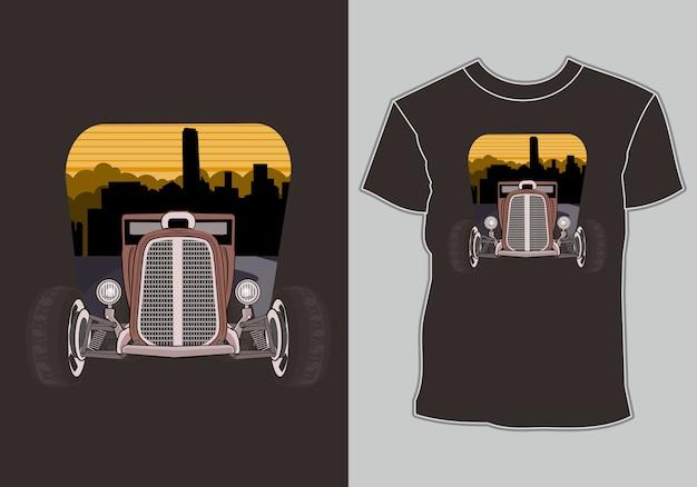 Camiseta com obras de arte carro clássico, vintage, retrô na cidade