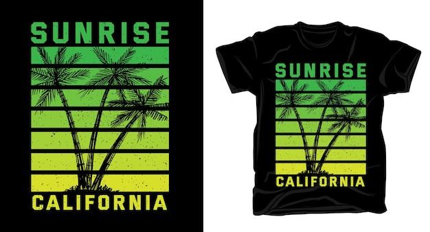 Camiseta com tipografia sunrise california summer