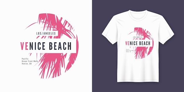 Camiseta da praia de venice e design moderno com palmeira
