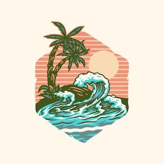 Camiseta da praia de verão, estilo de linha desenhada à mão com cor digital, ilustração