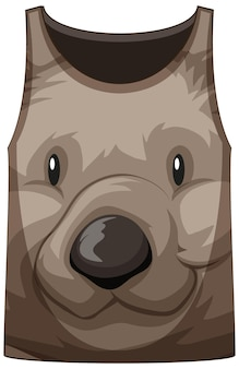 Camiseta de alças com rosto de urso fofo