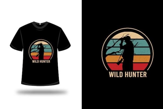 Camiseta de caçador selvagem verde laranja e vermelho