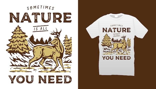 Camiseta de cervos na natureza