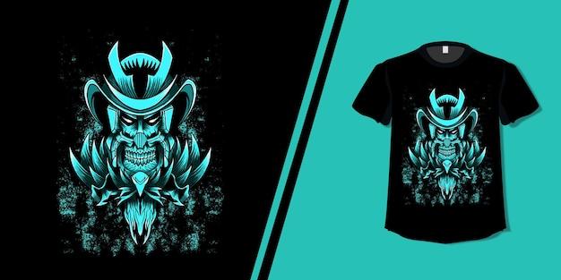 Camiseta de desenho de crânio de samurai