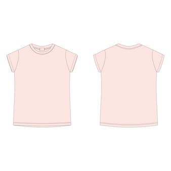 Camiseta de desenho técnico para crianças isolada no fundo branco. ilustração de modelo em branco de camiseta rosa