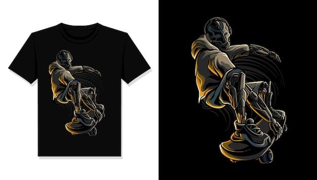 Camiseta de ilustração de robô de skate