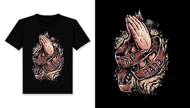 Camiseta de ilustração difícil de rezar