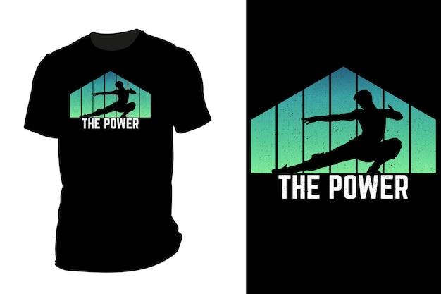 Camiseta de maquete com a silhueta do power retro vintage