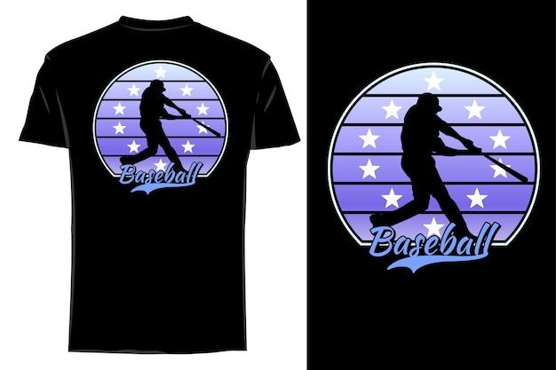 Camiseta de maquete com silhueta de estrela do beisebol retrô vintage