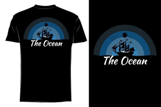 Camiseta de maquete com silhueta vintage retro do oceano
