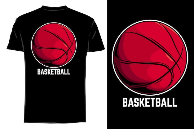 Camiseta de maquete de vetor basquete retrô vintage