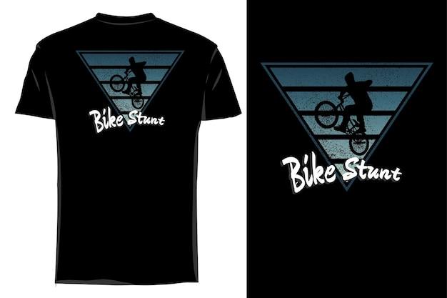 Camiseta de maquete silhueta moto acrobacias retrô vintage
