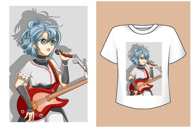 Camiseta de mulher linda estrela do rock