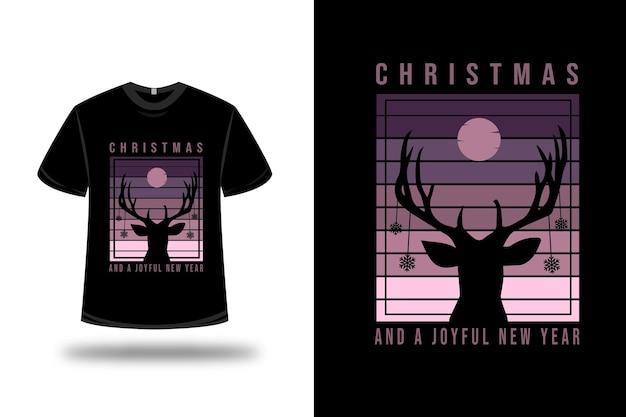 Camiseta de natal e um ano novo alegre em roxo e rosa