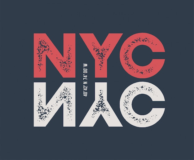 Camiseta de nova york e vestuário com letras texturizadas.