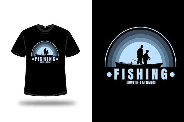Camiseta de pesca com gradiente azul claro da cor do pai