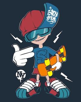 Camiseta de piloto de skate