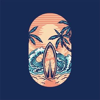 Camiseta de surf de verão praia, linha desenhada à mão com cor digital, ilustração