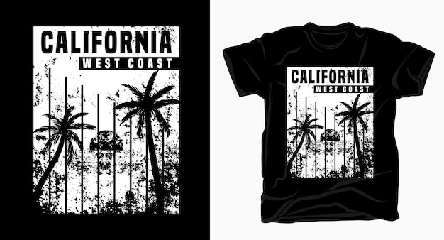 Camiseta de textura em preto e branco com tipografia da costa oeste da califórnia