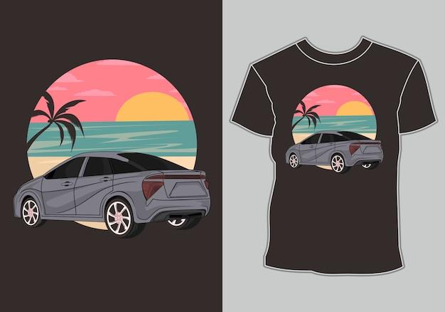 Camiseta de verão, carros clássicos, antigos e retrô estão na praia