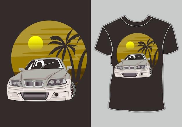 Camiseta de verão, carros de corrida esportivos modernos na praia