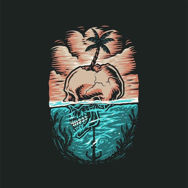 Camiseta de verão praia crânio, estilo de linha desenhada à mão com cor digital, ilustração