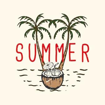 Camiseta design slogan tipografia verão com suco de coco ilustração vintage