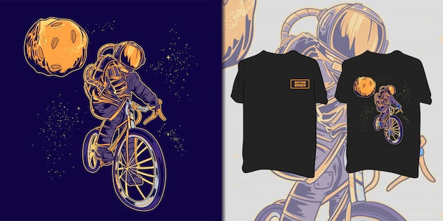 Camiseta do astronauta motociclista