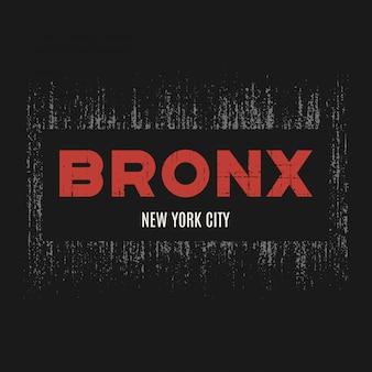 Camiseta do bronx e vestuário com efeito grunge e texturizado
