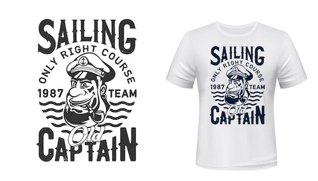 Camiseta do capitão marinheiro estampa equipe de vela ou clube náutico da marinha