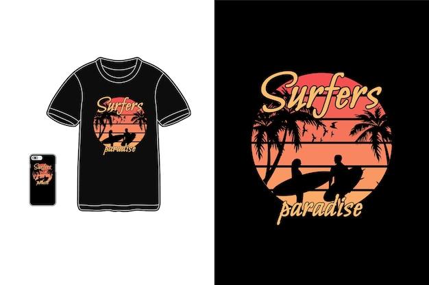 Camiseta do paraíso dos surfistas mercadoria silhueta coqueiro