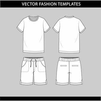Camiseta e calças frente e vista traseira