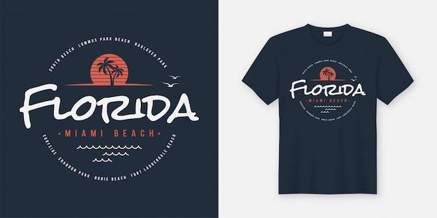 Camiseta e roupas da florida miami beach, tipografia, estampa