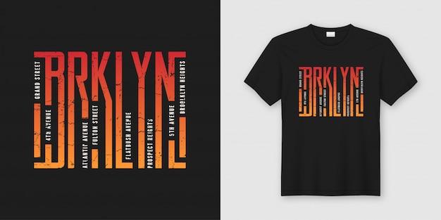 Camiseta e roupas elegantes do brooklyn, tipografia, impressão,