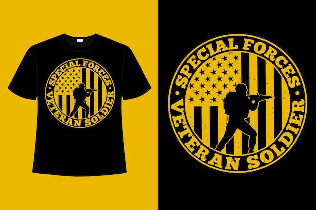 Camiseta especial soldado veterano bandeira americana tipografia ilustração vintage