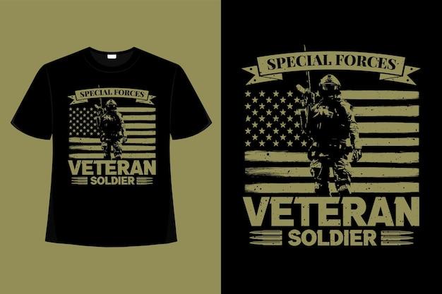 Camiseta especial veterano soldado tipografia retro vintage ilustração