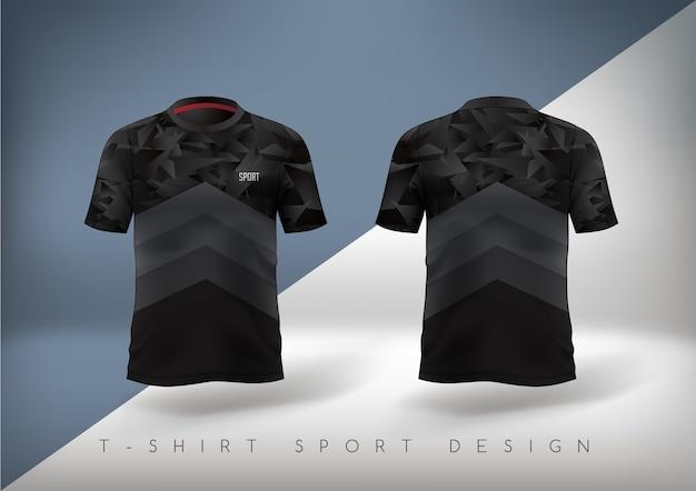 Camiseta esporte de futebol justa preta com gola redonda.