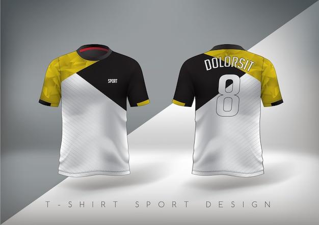 Camiseta esporte de futebol justa preta e amarela com gola redonda.