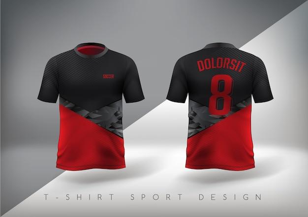 Camiseta esporte de futebol justa vermelha e preta com gola redonda.
