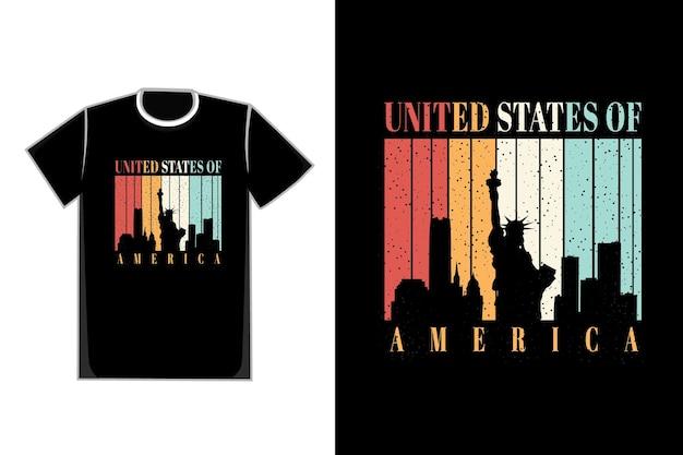 Camiseta estátua da liberdade grande edifício título estados unidos da américa